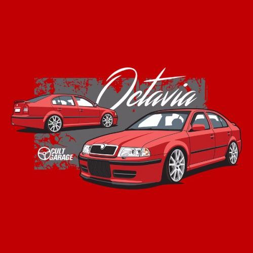 Dámské tričko s potiskem Škoda Octavia 1 Sedan červená 2