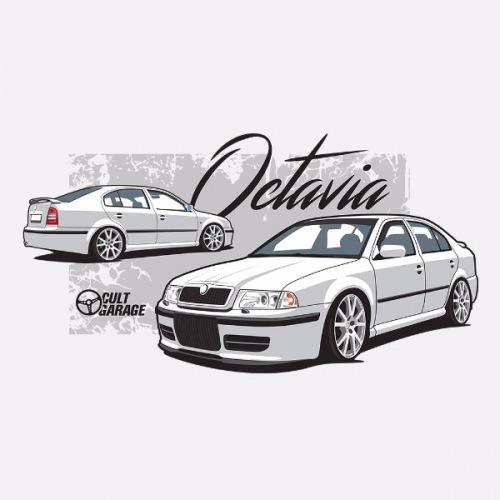 Pánské tričko s potiskem Škoda Octavia 1 Sedan bílá 1