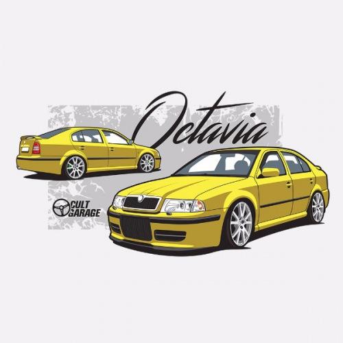 Dámské tričko s potiskem Škoda Octavia 1 Sedan žlutá 1