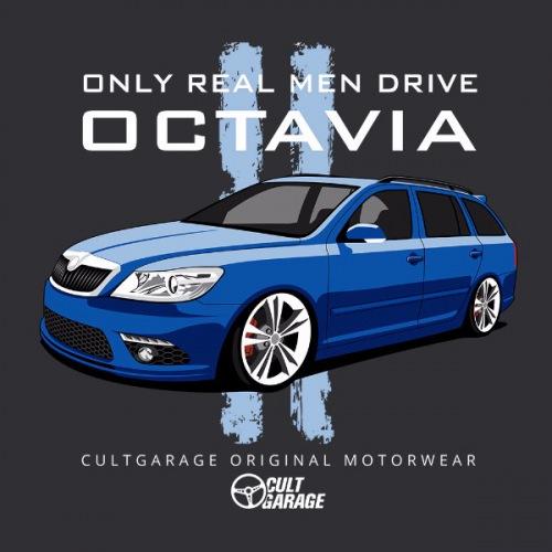 Pánské tričko s potiskem Škoda Octavia 2 Combi modrá 2