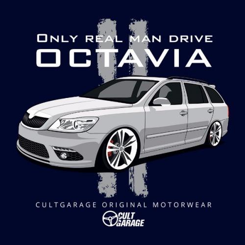 Pánské tričko s potiskem Škoda Octavia 2 Combi bílá 2