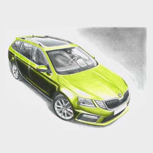 Dámské tričko s potiskem Škoda Octavia 3 combi: Handdrawn