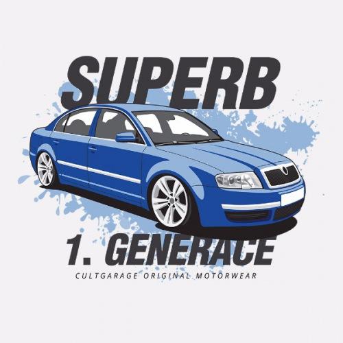Dámské tričko s potiskem Škoda Superb 1 modrá 1