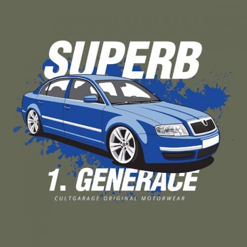 Dámské tričko s potiskem Škoda Superb 1 modrá 2