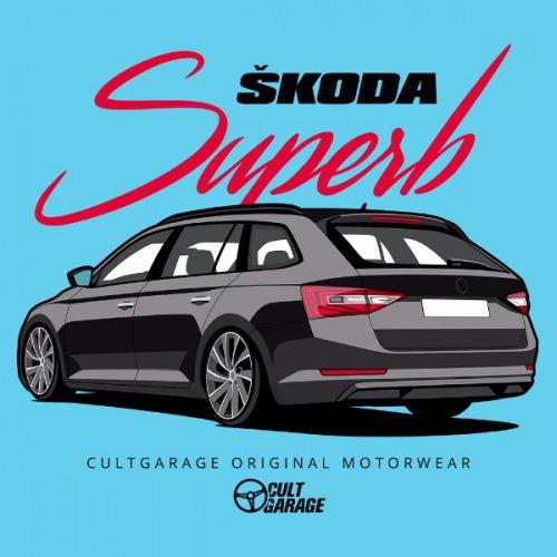 Dámské tričko s potiskem Škoda Superb 3 Black 1 Back