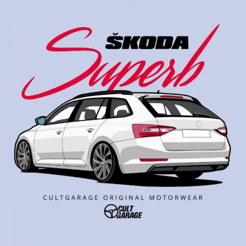 Dámské tričko s potiskem Škoda Superb 3 White 1 Back