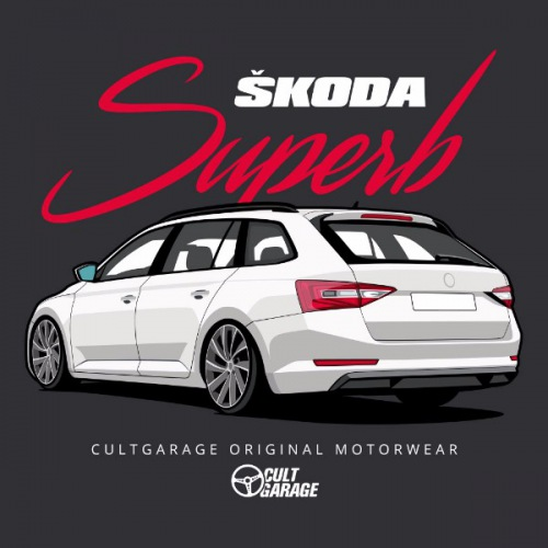 Dámské tričko s potiskem Škoda Superb 3 White 2 Back