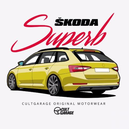 Dámské tričko s potiskem Škoda Superb 3 Yellow 1 Back