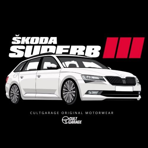 Dámské tričko s potiskem Škoda Superb 3 White 2 Front