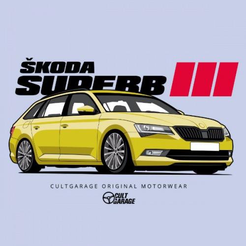 Dámské tričko s potiskem Škoda Superb 3 Yellow 1 Front