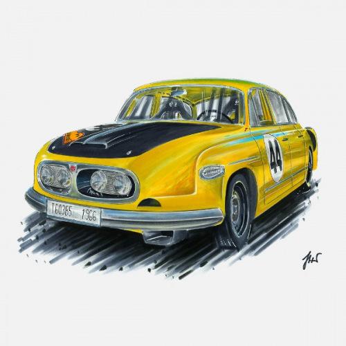 Pánské tričko s potiskem Tatra 603 1966: Handdrawn