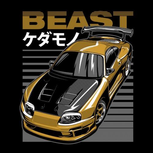Dámské tričko s potiskem Toyota Supra Beast žluta