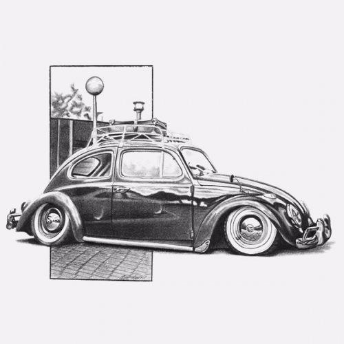 Dámské tričko s potiskem VW Beetle: Handdrawn