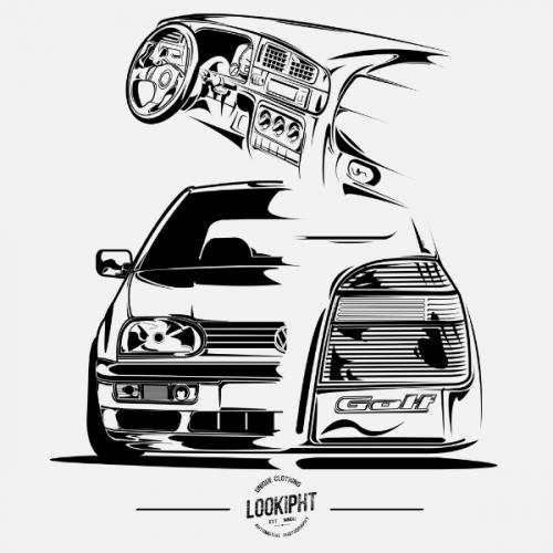 Dámské tričko s potiskem VW Golf MK3 Looki