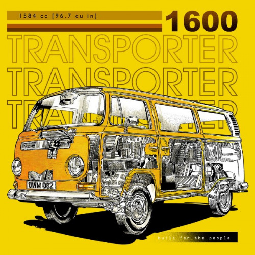Pánské tričko s potiskem VW Transporter T2 1600 žlutý