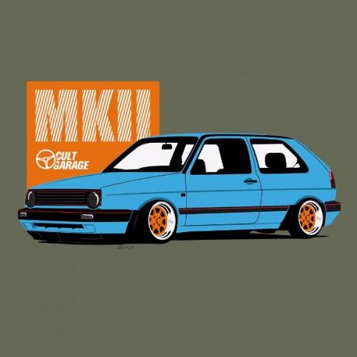 Dámské tričko s potiskem VW Golf 2 modrý