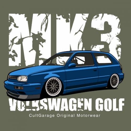 Dámské tričko s potiskem VW Golf 3 modrý