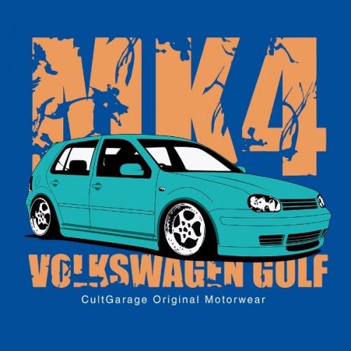 Dámské tričko s potiskem VW Golf 4 modrá 2