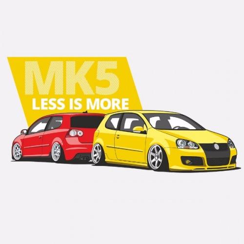 Dámské tričko s potiskem VW Golf 5 červeno/žlutá