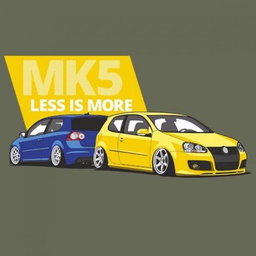 Dámské tričko s potiskem VW Golf 5 modro/žlutá