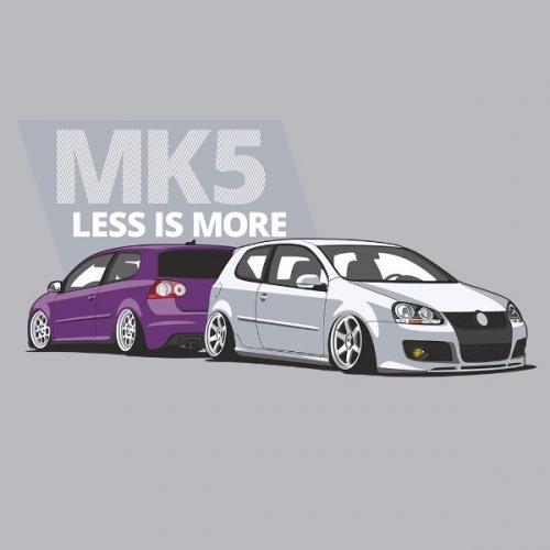 Pánské tričko s potiskem VW Golf 5 fialovo/bílá