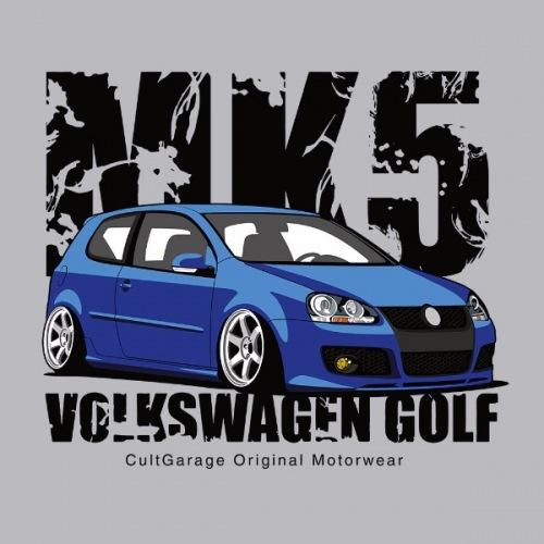 Dámské tričko s potiskem VW Golf 5 modrý