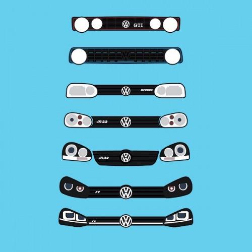 Pánské tričko s potiskem VW Golf Front Grill 1