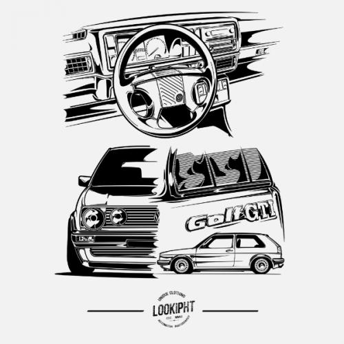 Dámské tričko s potiskem VW Golf MK2 GTI by Looki