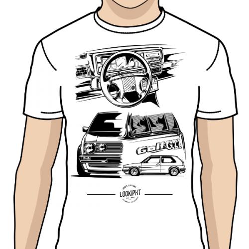 Pánské tričko s potiskem VW Golf MK2 GTI by Looki 2bf8070826