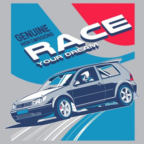 Dámské tričko s potiskem VW Golf 4 Race