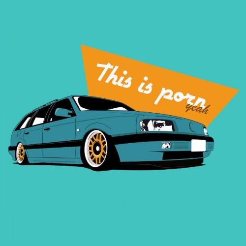 Dámské tričko s potiskem VW Passat B3 modrý