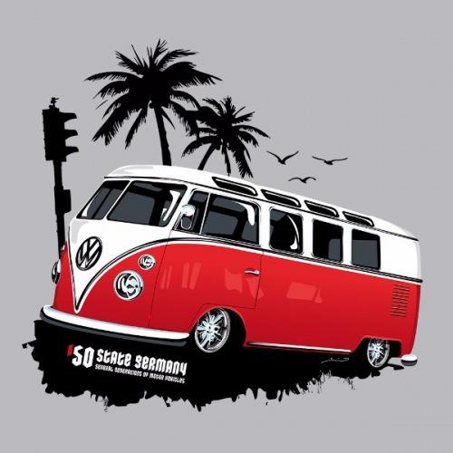 Dámské tričko s potiskem VW Transporter 1 červený