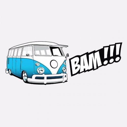 Pánské tričko s potiskem VW Transporter 1: Bam! Modrý