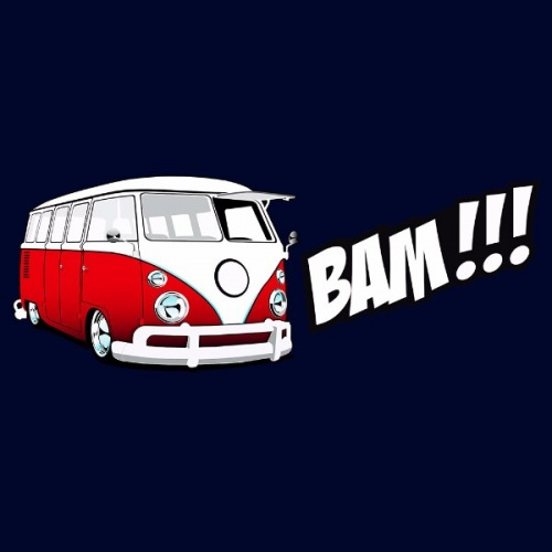 Pánské tričko s potiskem VW Transporter 1: Bam! Červený