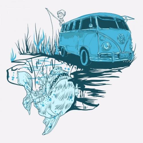 Dámské tričko s potiskem VW T1: Go Fishing