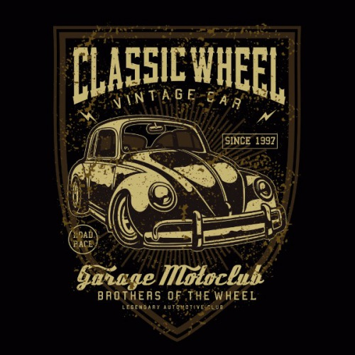 Dámské tričko s potiskem VW Beetle: Classic wheel