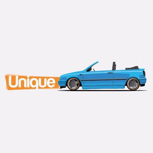 Dámské tričko s potiskem VW Golf III Cabrio: Modrý