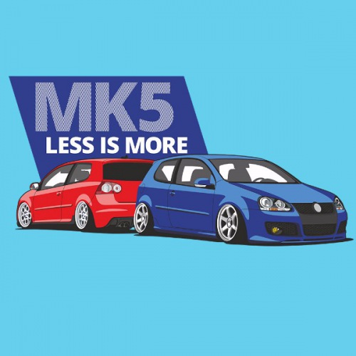 Dámské tričko s potiskem VW Golf 5 modro/červená