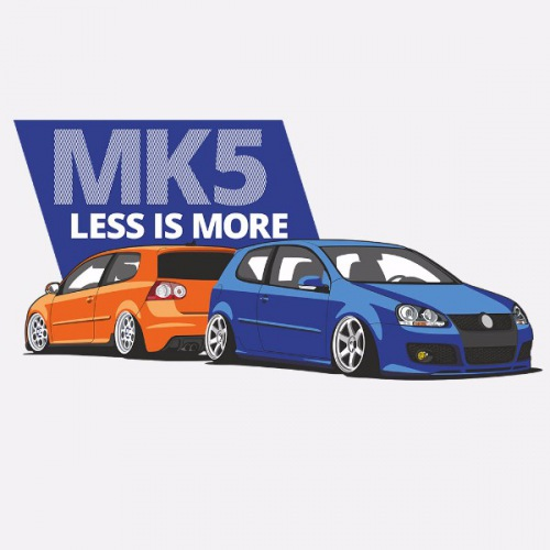 Dámské tričko s potiskem VW Golf 5 modro/oranžová