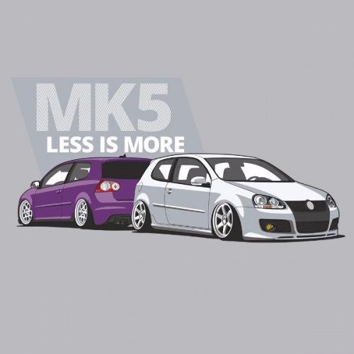 Dámské tričko s potiskem VW Golf 5 fialovo/bílá