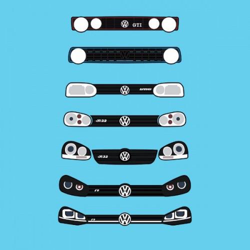 Dámské tričko s potiskem VW Golf Front Grill 1