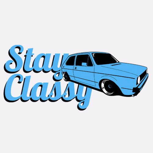 Dámské tričko s potiskem VW Golf 1 modrý
