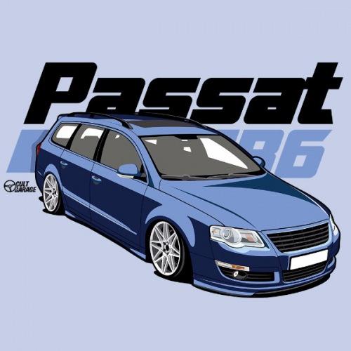 Dámské tričko s potiskem VW Passat B6 modrý 1