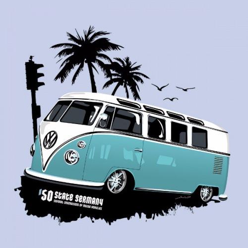 Dámské tričko s potiskem VW Transporter 1 modrý