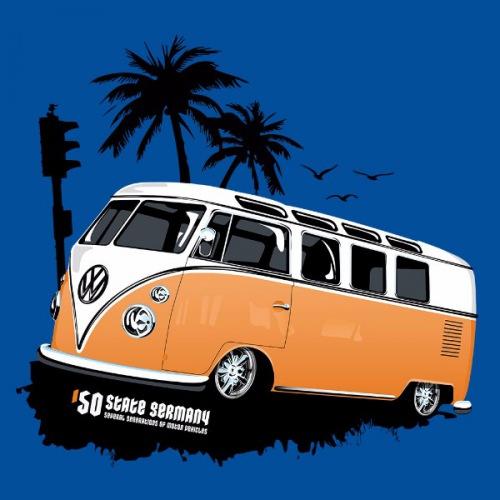 Dámské tričko s potiskem VW Transporter 1 oranžový