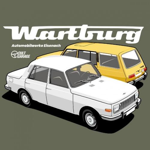 Pánské tričko s potiskem Wartburg 353 bílo-žlutý 2