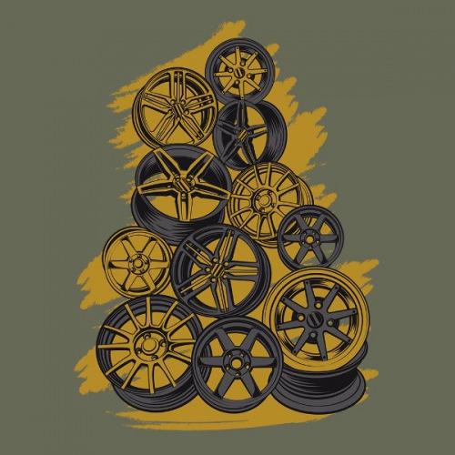 Pánské tričko s potiskem Wheels Pyramid