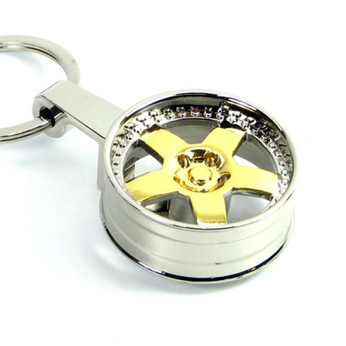 Přívěšek na klíče - lité kolo ZLATÉ